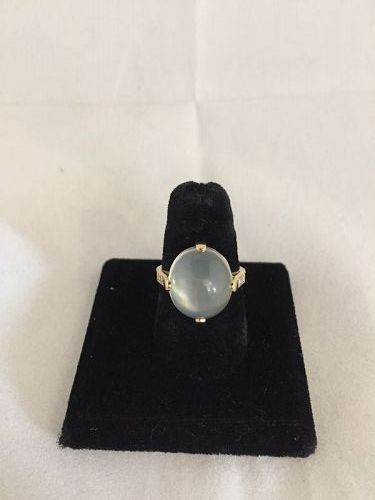Moonstone, Diamond, and 14k Yellow Gold Ring