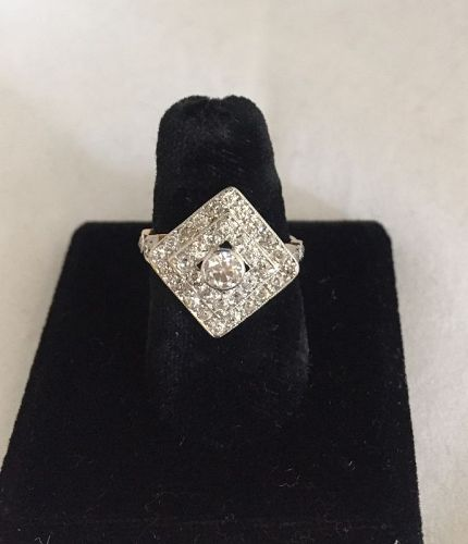 Platinum & Gold 1.2 Carat Total Weight Diamond Cluster Ring