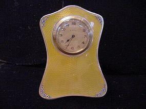 English Yellow Guilloche Enamel Sterling Clock