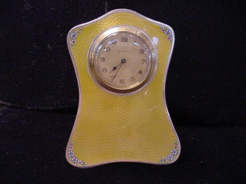 English Yellow Guilloche Enamel Sterling Clock