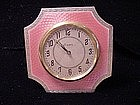 English Sterling Pink Guilloche Enamel Clock