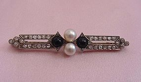 Art Deco Plat Diamond, Onyx, and Pearl Brooch