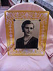 Large Rare Yellow Cut to Clear Picture Frame