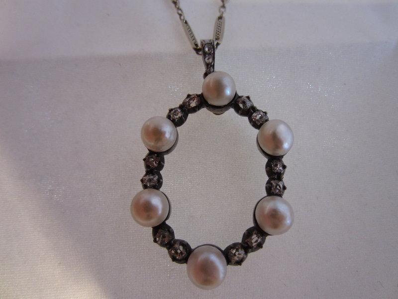 Platinum, Pearl and Diamond Necklace