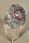 Antique Platinum, Diamond & Ruby Ring