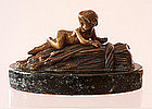 Bronze Figure Of Nude Child On Sheaf Of Wheat