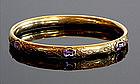 18K Gold Edwardian Bangle With Amethysts