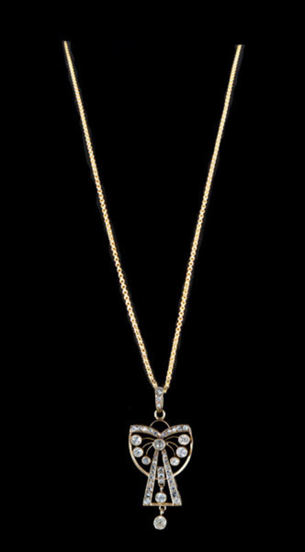 French 18K Diamond Pendant And 18K Chain