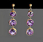 Amethyst & 15K Earrings