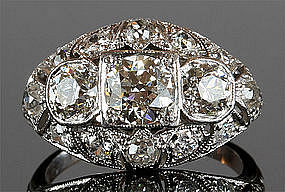 Platinum Art Deco Ring With 2.6 Total Carats