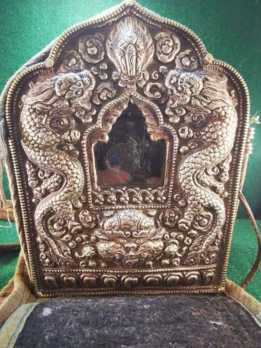 Qing Dynasty Tibetan Silver Amulet Box (Ga'u) With Scriptures