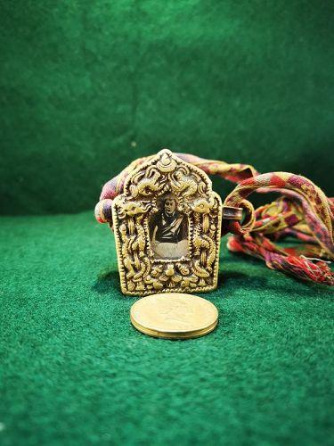 Small 20th Century Tibetan Copper Amulet Box (Ga'u) (with scriptures)