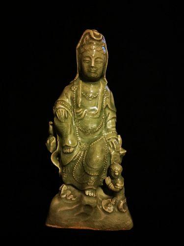 Late Yuan/Early Ming Dynasty LongQuan Celadon GuanYin Statue