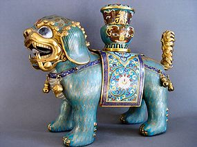 A Cloisonne Enamel Gilt Foo dog or Lion