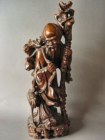Chinese carved God of Longevity Shou Lao Figure