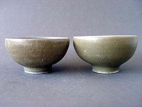 "A pair of  Longquan bowls in a rare ""Bulb Bowl"" shape"