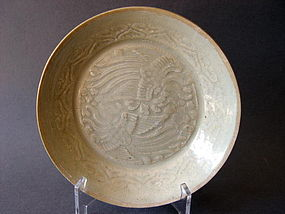 A rare thinly potted Song Qingbai double Phoenix  dish
