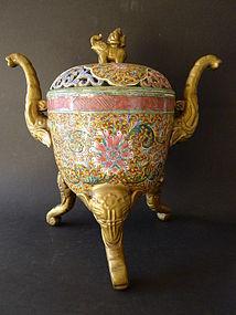 An impressive marked 19th century Tripod Censer