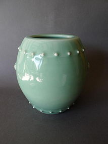 A Celadon glazed Barrel-shaped vase