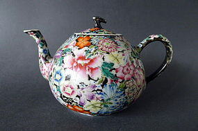 "A nice Guangxu Mark and Period ""Mille Fleur"" teapot"