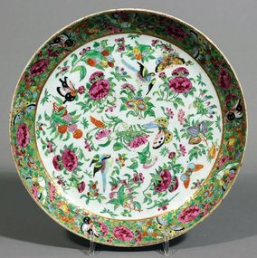 A large, most beautiful  Canton rose enamelled plate.