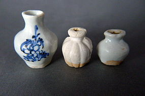 A Yuan  blue and white  and 2 Qingbai miniature vases