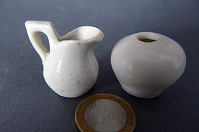 A Song Dynasty  white glazed miniature ewer and jar
