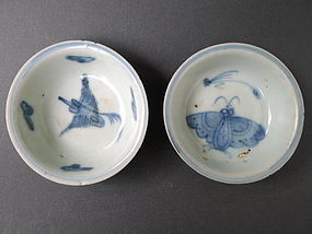A lovely pair of  Ming Wanli Butterfly and Crane dishes
