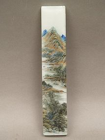 A nice and rare Qianlong Glass Landscape Scroll Weight