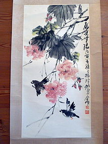 Ink and colour on paper, mounted as a hanging scroll