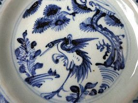 A very good middle Ming blue and white dish with Crane