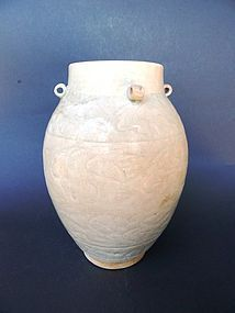 A large, perfect,  incised, white Song Dynasty Vase