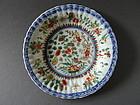 Kangxi fluted dish with underglaze blue and enamel