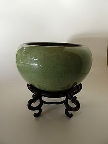Rare, large Celadon glazed Alms Bowl 18th -19th century