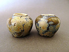 Extremely rare Tang Dyn. Phosphatic splash -glazed jars