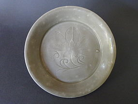 A rare Five Dynasties Yue ware  dish with an incised Lotus decoration