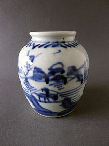 Very attractive, abstractly painted Yongzheng Period blue & white Jar