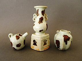 A quite important group of 3 Yuan Qingbai items with iron brown spots