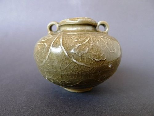 "A rare Longquan ""Golden Celadon"" jarlet with moulded decoration"