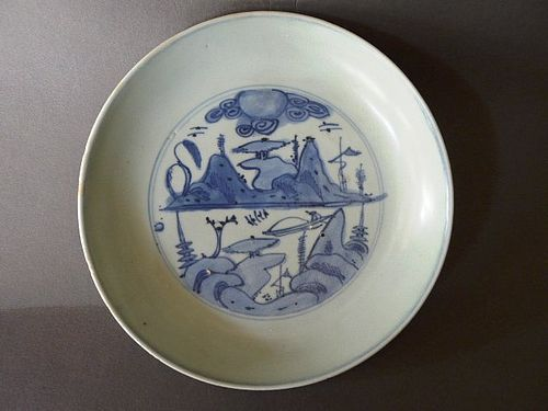 "A rare Ming Wanli ""Master of the Rocks"" design blue and white Dish"