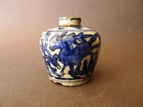 A Swatow blue and white jarlet with galloping horses