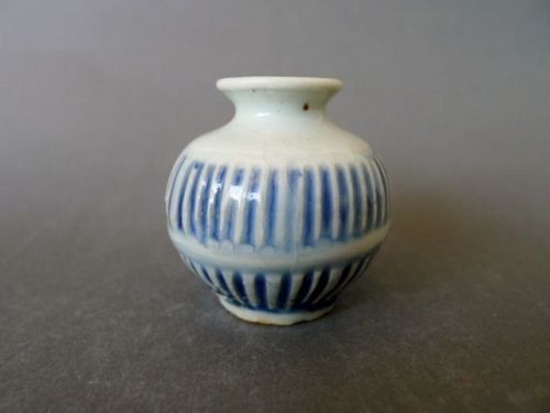 An quite rare, very small late Ming Dynasty blue and white vase