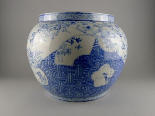 "A large, rare Japanese ""Shonzui decorated"" blue and white Jardiniere"