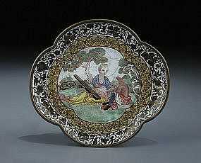 Superb quality Canton Enamel  European Subject Tray