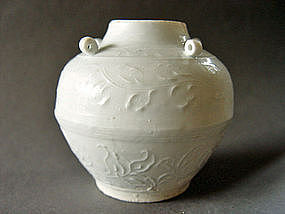 Superb Song Dynasty white glazed Jar with four Lugs