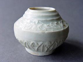 Yuan Dyn.  Qingbai glazed Jarlet with molded decoration