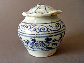 Yuan blue and white Jar with Lid  ( Top Cobalt blue )