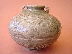Yuan dynasty green glazed jar !