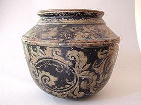 Black glazed and gilt pottery jar !
