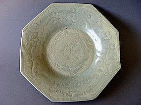 Rare Ming  Dyn. Longquan Ware Octagonal  Celadon Dsh